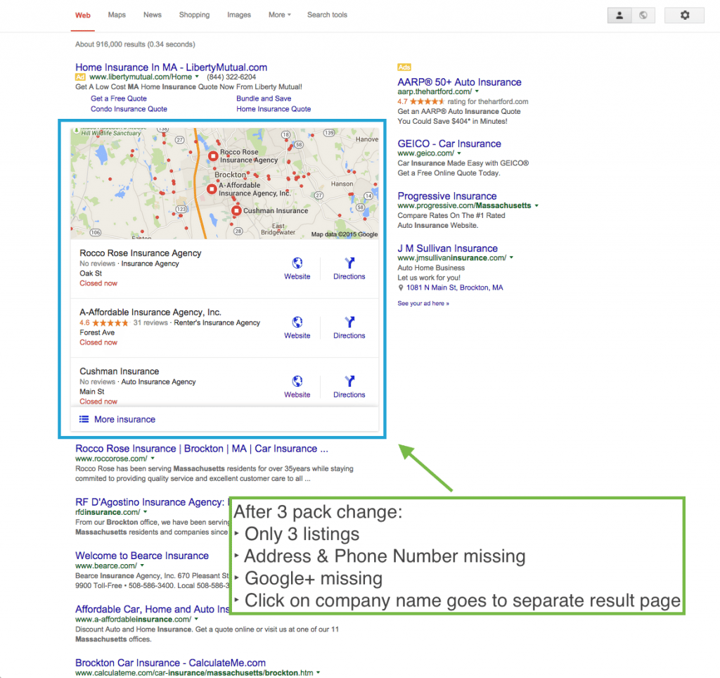 "Google search results after ""snack pack"" update - impacts local small businesses in a big way"