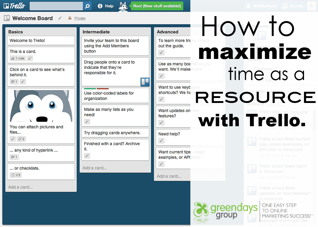 How to maximize time as a resource with Trello for time management and digital marketing plans